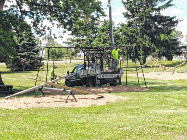 The City of Washington Court House opened its playground equipment at its parks this week for the first time since COVID-19 shut down many public places. At Eyman Park, employees of the city finished reopening by lowering the swings and removing the signs at the entrance.