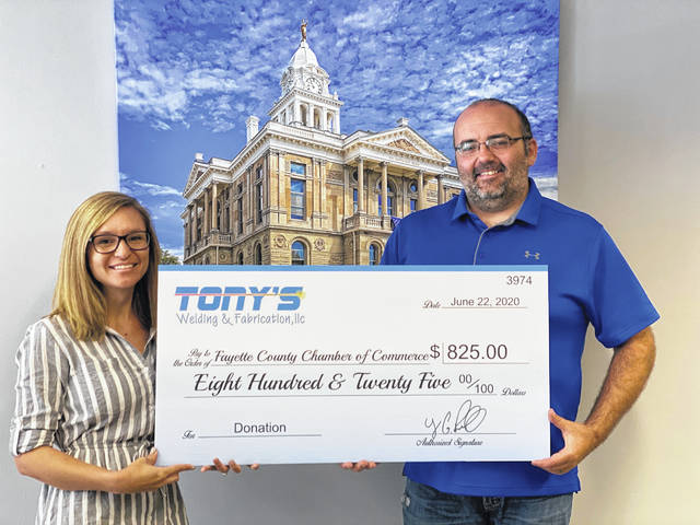 Heather and Tony Penwell of Tony's Welding and Fabrication recently donated over $800 to the Fayette County Chamber of Commerce's Small Business Grant fund.