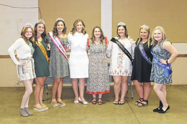 The Queen's Tea this year was hosted by the Fayette County Commodity Queens. Those present took a photo with the candidates during the event. Pictured (L to R): 2020 Fayette County Pork Queen Laikyn Hughes, 2020 Fayette County Horse Queen Madison Johnson, 2020 Fayette County Small Animals Queen Libby Aleshire, Fair Queen candidates Victoria Waits and Aubrey Schwartz, 2020 Fayette County Goat Ambassador Abigail Mick, 2020 Fayette County Dairy Princess Taylor Moore and 2020 Fayette County Alpaca Princess Brandelyn Jenkins.