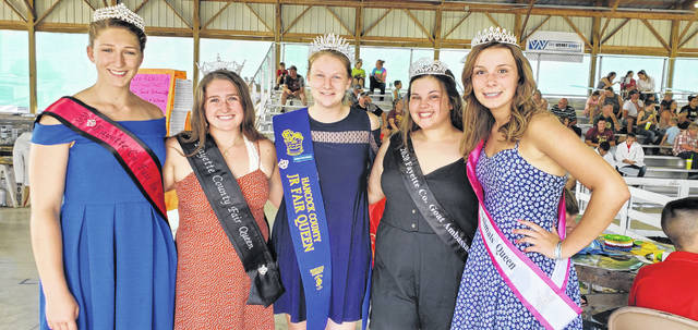 The 2020 Fayette County Junior Fair received a visit from this year's queen of the Hancock County Junior Fair, Hannah Betts. Betts explained that she lives approximately three hours from Fayette County but attends Wilmington College, majoring in agricultural education and animal sciences. Pictured (left-to-right): Fayette County Fair First Attendant Victoria Waits, Fayette County Fair Queen Aubrey Schwartz, Hancock County Fair Queen Hannah Betts, Fayette County Goat Ambassador Abigail Mick and Fayette County Small Animals Queen Elizabeth Aleshire.