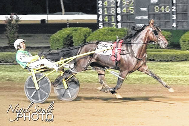 Catch The Fire, driven by Mike Wilder, cruises to victory in the Kentucky Sire Stakes in Lexington in August of 2019.