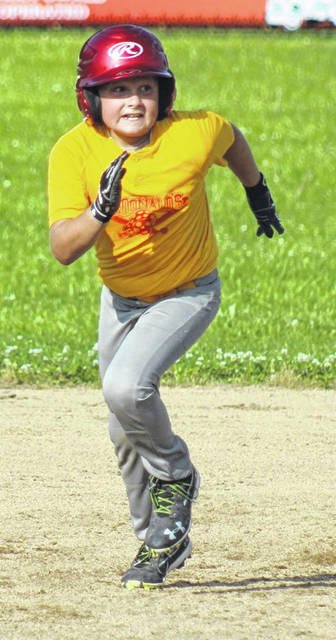 Dakota Brown heads to third base for McDonald's during a Washington C.H. Little League Majors game against Eagles Tuesday, June 30, 2020.