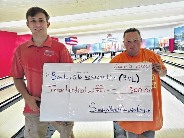 "Thanks to the ""Sunday Mixed Couples League"" and Andrew Amore at LeElla Lanes, the Bowlers to Veterans Link — a non-profit that helps veterans — received a $300 donation. This donation will go on to help provide grants for various programs, activities, materials, games and much more to help boost spirits, speed recuperation, and improve moral of veterans. Pictured are Amore and league president Wendy Coonrod."