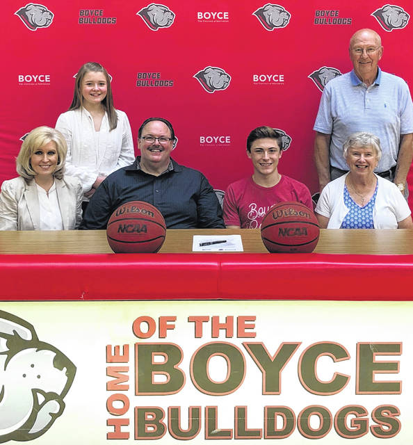 Nicholas Epifano, seated, third from left, on July 9, 2020 signed a letter of intent to attend Boyce College, where he will continue his education and basketball career. He was joined by his parents, (seated), Karen and Nick Epifano, his sister, Luisa, standing, at left, and Fayette Christian School basketball coach Gary Shaffer and his wife, Jean.