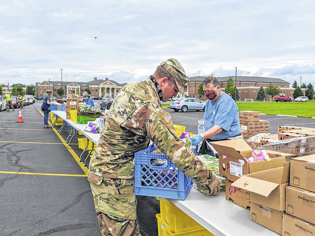 In early June, Washington Court House City Schools partnered with the Ohio National Guard (1-134th Field Artillery Regiment), the Mid-Ohio Foodbank, and WCH Grace United Methodist Church to offer free family food distribution which served 272 families.