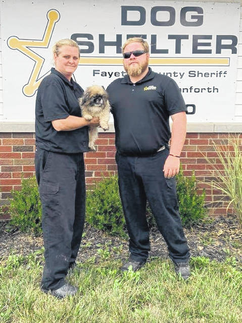 "After being reported missing over the weekend, ""Gizzy"" was found trapped at a location in Washington Cemetery. The Fayette County Assistant Dog Warden Brittany Bryant (left) and Fayette County Dog Warden Nelson Prater (right) responded to the cemetery and worked with a cemetery employee to rescue the pup. According to Prater, Gizzy appeared to be okay and was returned to his family on Monday."