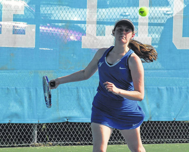 Washington's Addy Newsom in action during a second singles match at Gardner Park against FAC opponents Jackson, Thursday, Aug. 13, 2020.