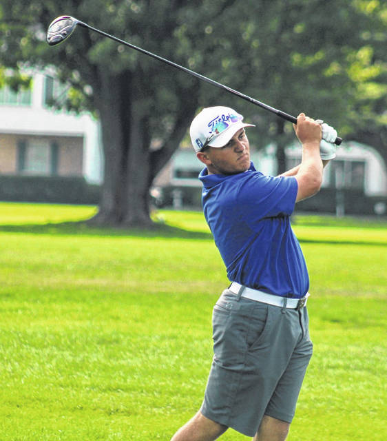 Washington's Garrett Wahl hits a tee shot during a match against Miami Trace and Unioto Monday, Aug. 10, 2020 at The Greens.