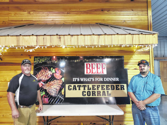 A fundraiser was recently held to support community member, Gus Bonham, who suffered a massive barn fire on his farm in July. Fayette County Cattlemen's vice president Rick Harmon (left) and Fayette County Cattlemen's member Gus Bonham (right).