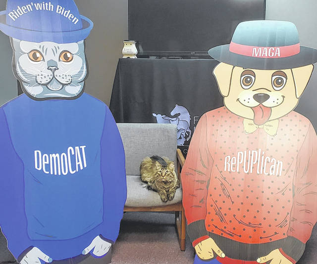 DemoCAT or RePUPlican? Fayette Regional Humane Society is allowing the community to vote by counting the pounds of canned cat food and scoopable cat litter donated to each mascot from Oct. 1 until the general election on Nov. 3.