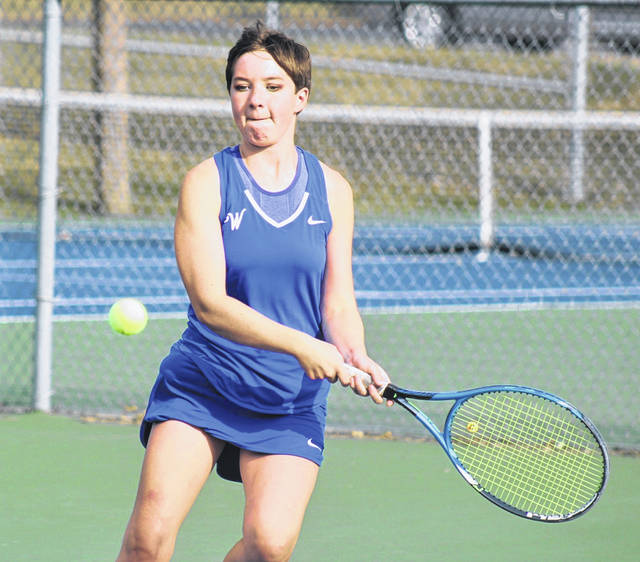 Washington's Abby Rose makes a return during a third singles match against Miami Trace played at Gardner Park Tuesday, Sept. 22, 2020.