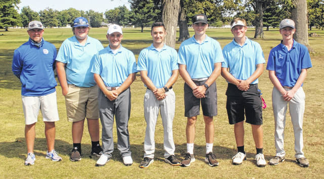 WASHINGTON BLUE LION 2020 FAC BOYS GOLF CHAMPIONS — The Washington Blue Lions won the Frontier Athletic Conference golf tournament Tuesday, Sept. 22, 2020 at The Greens. After being in second place in the standings most of the season, the Blue Lions won the 18-hole tournament and Chillicothe placed second. The leaders most of the season, Hillsboro, placed third, which allowed Washington to vault over them for the overall championship. (l-r); head coach Shannon Bartruff, Luke Crabtree, Garrett Wahl, Ty Rose, Brice Cartwright, Drew Ferguson and John Wall.