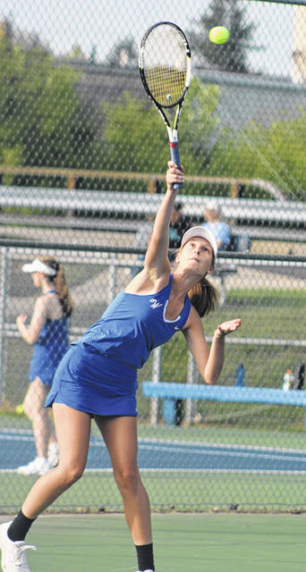 Washington's Brooklyn Foose serves during a first singles match against Hillsboro Tuesday, Sept. 1, 2020 at the courts at Gardner Park.