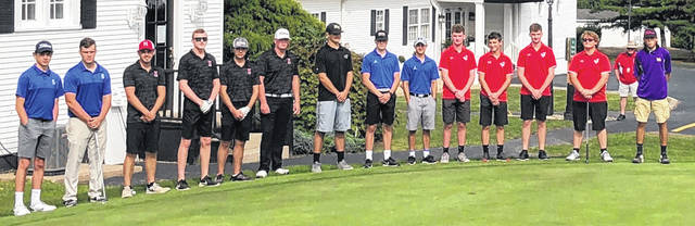 Frontier Athletic Conference senior golfers are pictured Monday, Sept, 14, 2020 at the Chillicothe Country Club. (l-r); Chillicothe, Hillsboro, Collin Farrens of Miami Trace; Brice Cartwright and Ty Rose of Washington; Jackson and McClain.