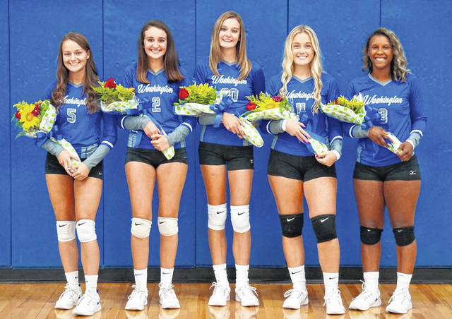 In this time of COVID, the Washington Lady Blue Lions took the opportunity Tuesday, Sept. 1, 2020 to honor its five senior players prior to the match against McClain. (l-r); Brittney Wilson, Emily Semler, Rachel Palmer, Mallory Hicks and Amya Haithcock.