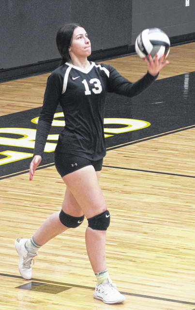 Miami Trace senior Piper Grooms serves during a Frontier Athletic Conference match against Hillsboro Thursday, Sept. 16, 2020.
