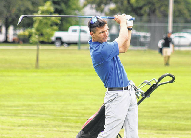 Washington's Ty Rose tees off on the No. 2 hole during a Frontier Athletic Conference match at The Greens Monday, Aug. 31, 2020.