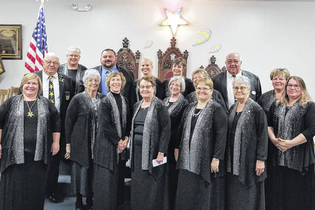 "Jefferson Chapter #300, of Jeffersonville, was named an ""Outstanding Chapter"" on Sept. 26 at the statewide meeting of the Grand Chapter of Ohio, Order of the Eastern Star. Pictured are the officers from October 2019 who are still the current officers."