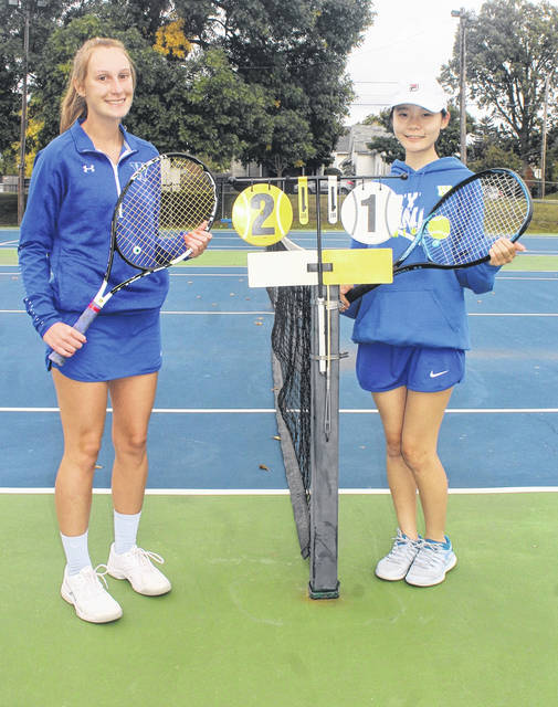 Washington High School seniors Brooklyn Foose, left, and Mei Kobayashi, were recognized prior to the match against Circleville Tuesday, Sept. 29, 2020 at the tennis courts at Gardner Park.