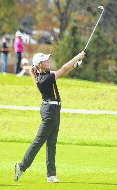 Miami Trace junior Libby Aleshire watches her approach shot to the green from the fairway on the Gray course at the 28th annual Division I State tournament Friday, Oct. 23, 2020 at The Ohio State University in Columbus.