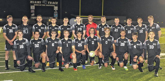 For the sixth year in a row, the Miami Trace Panthers soccer team has won at least its first tournament game of the Sectional. On Monday, Oct. 19, 2020, the Panthers hosted and defeated Sheridan, 6-0. (front, l-r); Elliott Anthony, Pierce McCarty, Ryan Smith, Blake Sollars, Eli Miller, Chase Morris, Kaiden Howard, Jacob Pettit, Logan Madden, Drew Black; (back, l-r); Todd Ford, Brohgan Cooper, Hayden Hunter, Connor Bucher, Alex Smith, Christian Caldwell, Ethan Steele, Jaden Haldeman, Matthew Webb, Noah Perry, Logan Johnson and Anthony Langley.