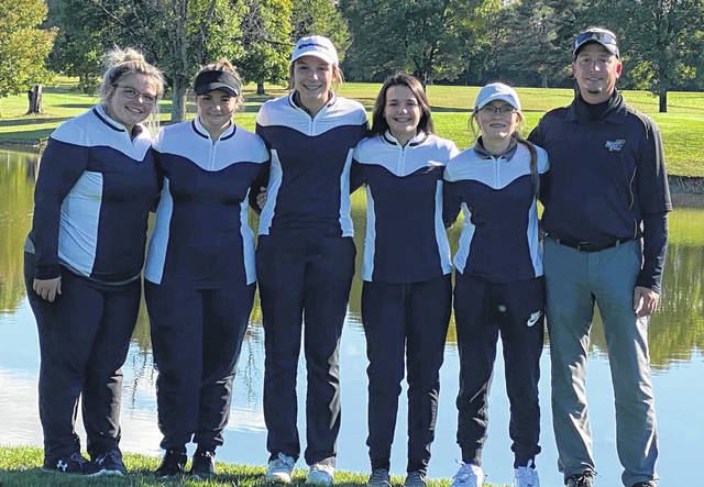 The Miami Trace golf team is pictured at the Sectional tournament at Pickaway Golf Course Monday, Oct. 5, 2020. The team placed second there to advance to the District tournament on Monday. (l-r); Taylor Moore, Destinee Butcher, Libby Aleshire, Alyssa Butler, Makayla Barnes and Coach Todd Wallace.