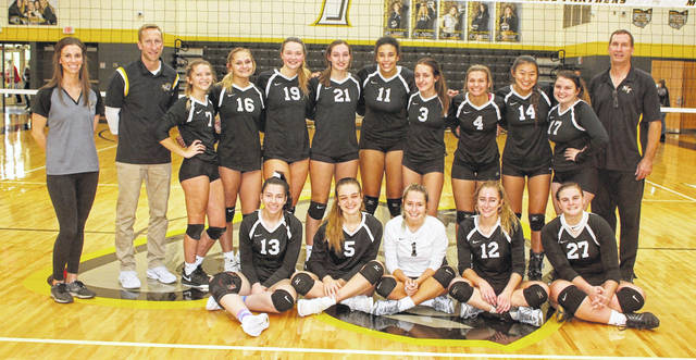 MIAMI TRACE VOLLEYBALL 2020 SECTIONAL CHAMPIONS — It had been 23 years since the last Sectional title, but on Saturday, Oct. 24, Miami Trace hosted Jackson and won the match, 3-0, claiming just the program's fourth-ever Sectional title and first since 1997. (front, l-r); Piper Grooms, Saylor Moore, Chloe Scott, Olivia Fliehman, Delaney Eakins; (back, l-r); assistant coaches Mariah Roberts and Tracy Fliehman, Faith Morrison, Ali Cusic, Laura Robinson, Gracey Ferguson, Sophia Parsons, Mary Pfeifer, Kennedy Kelley, McKenna Casto, McKenna Snow and head coach Doug Mace.