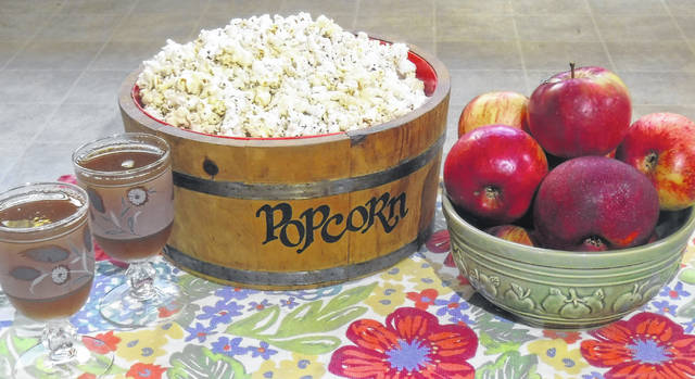 Spiced apple cider and popcorn.