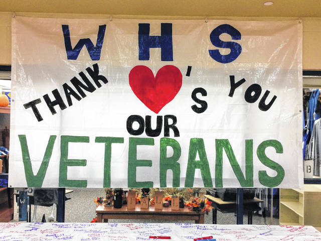 The Washington High School banner thanking veterans with a banner that will be outside the school for the next week.