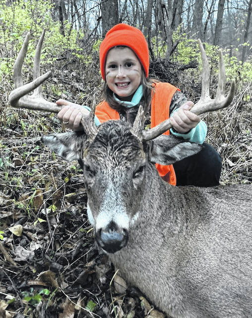 Exactly one week after Havyn got her first deer, younger sister Hartlyn (age 7) shot her 8 point buck with a youth rifle during youth gun weekend on Saturday, Nov. 21.