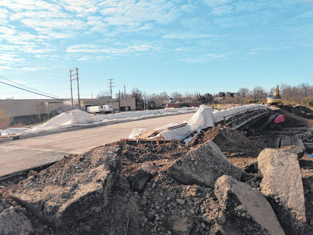 The bridge project on West Temple Street in Washington C.H. behind Kroger continues to make progress with crews working on Wednesday morning. According to City Manager Joe Denen, the project should wrap up next week.