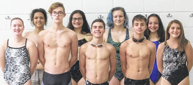 2020-21 MIAMI TRACE HIGH SCHOOL SWIM TEAM — (front, l-r); Debbie Abare, Kaiden Howard, Christian Rossiter, Max Trimble, Alexa Streitenberger; (back, l-r); Caleb Bowers, Abby Brandt, Courtney Arnold and Brianna Thompson. Not Pictured: Emily Moser, Kaley Moser, Neo Lehr, Mia Dickson and Keely McBride.