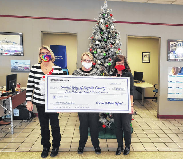 Beford Ford in Washington C.H. recently made a donation to the United Way of Fayette County to help bring Christmas to over 20 children this season. Pictured (L to R) Missy Meacham, Connie Beford and United Way of Fayette County President Debbie Bryant.