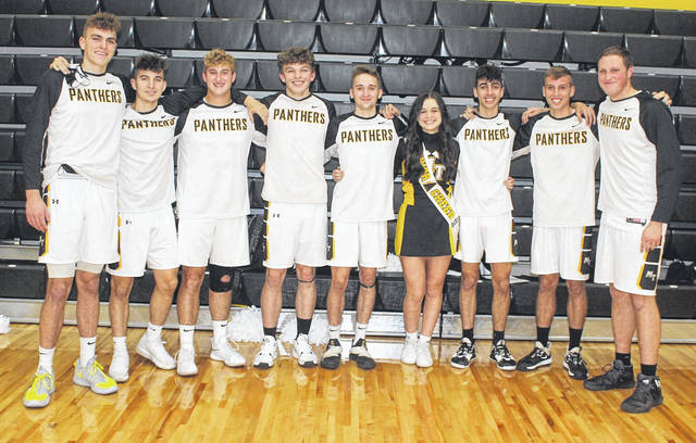 Miami Trace High School's eight senior basketball players and one senior cheerleader were recognized prior to the game against the McClain Tigers Friday, Dec. 11, 2020. (l-r); Logan Rodgers, Keegan Terry, Ethan Steele, Braden Osborne, Cameron Moore, Saylor Moore, Cyrus Keplinger, Bo Little and Dylan Bernard.