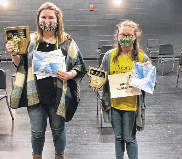 Miami Trace Middle School held its 46th-annual Spelling Bee recently with Adrienne Jacobson (left) taking home the top prize and Anna Eggleton taking home second.