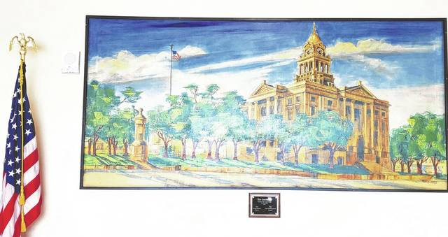 "In the administration lobby is a painting donated this year by the Doug Marine and Alan Witherspoon families. The painting is titled ""The Courthouse."""