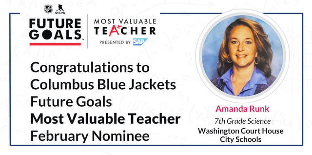Amanda Runk — a seventh grade science teacher at Washington Middle School — is now competing against 19 other teachers across America and Canada for the title of the National Hockey League Most Valuable Teacher after being named the Columbus Blue Jackets (CBJ) Most Valuable Teacher (MVT) for the month of February. Everyone is encouraged to visit NHL.com/MVT and vote once a day, every day, for Runk.