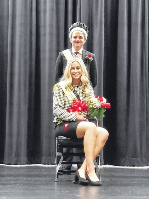 Miami Trace High School crowned seniors Olivia Fliehman and Aaron Hostetler as the Homecoming Queen and King on Friday.