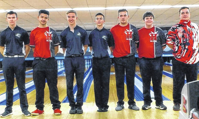 Miami Trace Panther bowlers who earned First Team, All-Frontier Athletic Conference honors for the 2020-21 season are pictured above; (at left), Jayden Brown; third from left, Jake Manbevers and next to him, Connor Collins.