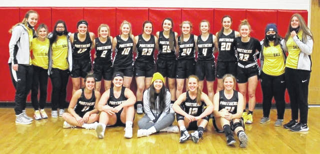 2020-21 FRONTIER ATHLETIC CONFERENCE CHAMPION MIAMI TRACE LADY PANTHERS — The team gathered on the court at Hillsboro High School following a 57-46 victory that earned the team an outright FAC championship with a record of 9-1. (front, l-r); seniors Gracee Stewart, Delaney Eakins, Piper Grooms, Magarah Bloom, Addy Little; (back, l-r); Lilly Workman, Kaelin Pfeifer, Kate Hicks, Libby Aleshire, Audrey Craig, Jessee Stewart, Sidney Payton, Hillery Jacobs, Mallory Lovett, Hillary McCoy, Gracey Ferguson, Emma Pitstick, Lorelei King and Macy Mahorney.