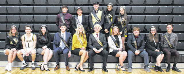 Miami Trace High School's 2020-21 Homecoming Court was recognized prior to the Panthers' basketball game against the Washington Blue Lions Saturday, Feb. 6, 2021. Seated (l-r, all seniors); Gracee Stewart, Cameron Moore, Piper Grooms, Fletcher Havens, Queen Olivia Fliehman, King Aaron Hostetler, Kaylie Frazier, Xavier Guisinger, Makayla Lingerfelt, Sam Braden; (standing, l-r); Junior attendants Alexander McCarty and Megan Manns; Sophomore attendants Jacob Cline and Peyton Black and Freshman attendant Hallie Sword. Not pictured: Freshman attendant Blake Steele.