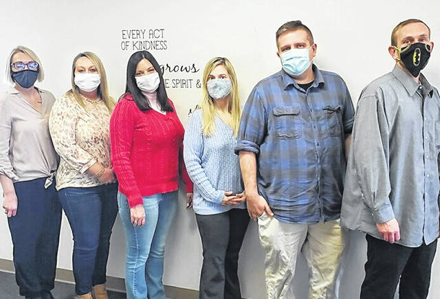 Pictured are Fayette Recovery Center staff members: (left-to-right) Kayla Maiden (LCDCII), Minda Chrisman (CDCA), Dominique Ater (CT), Kyndle Clark (LPCCS), Jim Oldham (LPCC) and Jody Wilson (CDCA).