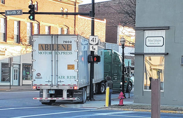 On Saturday evening, a semi-truck damaged city property while attempting to turn from North North Street to East Court Street in Washington Court House.