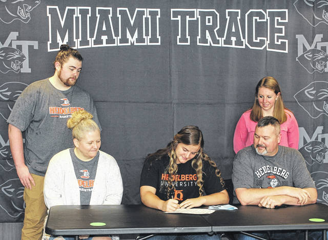 Delaney Eakins, a senior at Miami Trace High School, on Thursday, March 25, 2021, signs a letter of intent to attend Heidelberg University, where she will study computer science and be a member of the women's basketball team. She was joined for the occassion by her mother, Geneva, father, Michael, seated and brother Dawson and Miami Trace assistant varsity basketball coach Kayla Dettwiller, in back.