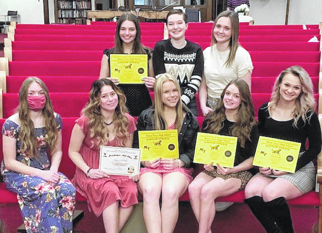 Gymnasts from Miami Trace, Washington, Adena and Greeneview High Schools were recently recognized at an end-of-season banquet. Above are the scholar athletes; (front, l-r); Claire Robinson (Adena), Lizzy Valentine (Greeneview), Madilyn Roshto, Bayley Carr and McKinkey Kelley, all from Miami Trace; (back, l-r); Cloe Louderback (Miami Trace) and Abby Rose and Maryn Mustain (Washington).