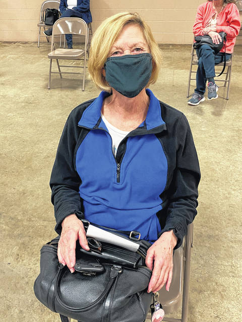"""Genea Stayrook was vaccinated during a clinic at the fairgrounds. """"This was easy, I didn't have any problems"""" signing up for or receiving her vaccine, she said."""