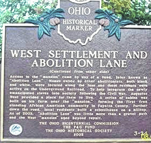 Ohio Historical Marker of West Settlement and Abolition Land stands in the Greenfield Cemetery in Greenfield.