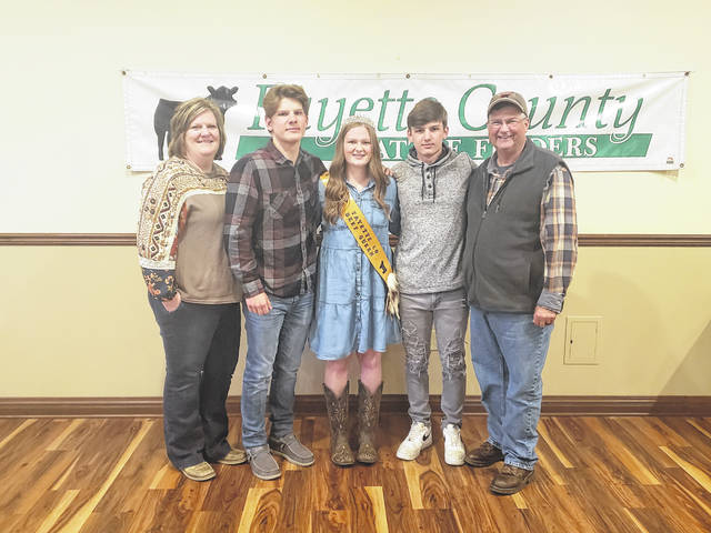Gracelyn Zimmerman was crowned this year's Fayette County Beef Queen at the Fayette County Cattlemen's Association banquet. Pictured with Gracelyn (center) are: Jamie Zimmerman (mother), Garrett Zimmerman (twin brother), Gracelyn (2021 Fayette County Beef Queen), Luke Zimmerman (brother), and Ron Zimmerman (father).