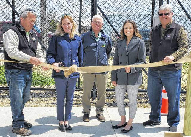 On Thursday, RPHF Solid Waste District held a ribbon cutting at the Fayette County Recycling Center, 1580 Robinson Road in Washington Court House, as it is now gated and requires a key fob for access. Pictured (left-to-right) are County Commissioner Tony Anderson, RPHF Director Erica Tucker, Commissioner Jim Garland, RPHF Assistant Director Lauren Grooms and Commissioner Dan Dean.