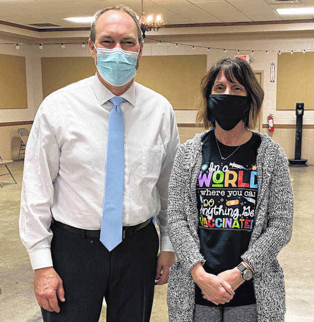 Senator Bob Peterson received his first dose of the COVID-19 vaccine at Wednesday's clinic. Shown with Sen. Peterson is FCPH Clerk Donna Butler.